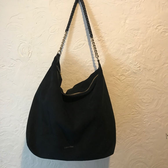 Calvin Klein Handbags - Calvin Klein Faux Suede Black Slouchy Hobo with Ch